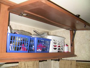 RV Overhead Storage Bins with Gas Lifts Showing
